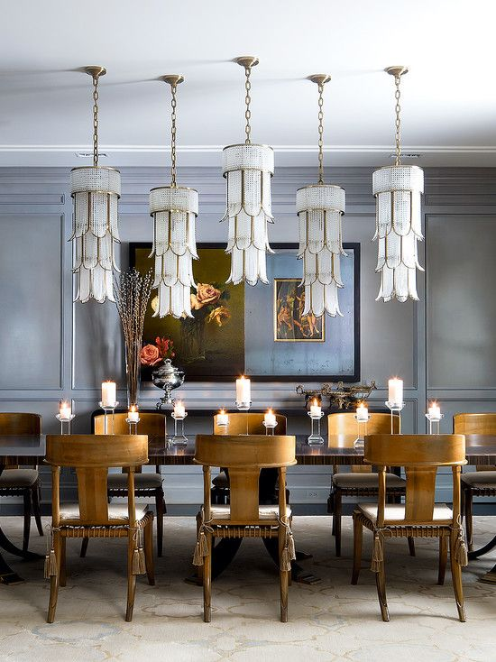 Eclectic dining room with pendant light crown molding for Eclectic dining room designs