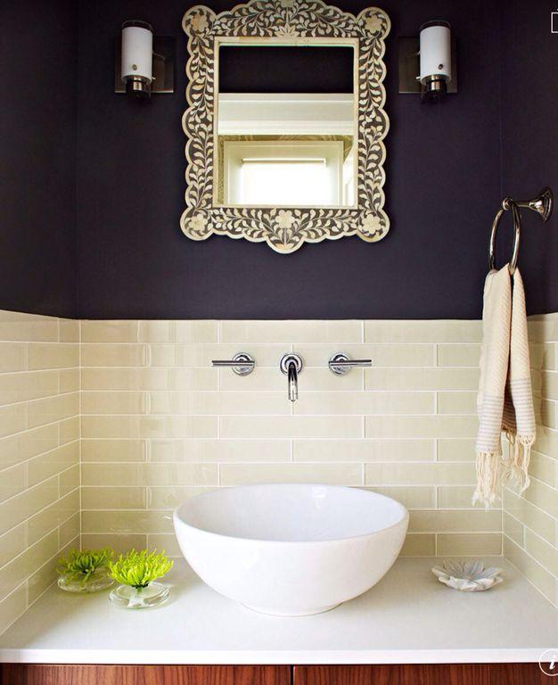 Contemporary Powder Room with Casement, Subway Tile, Flush, full backsplash, Paint 1, Powder room, Wall sconce, Vessel sink
