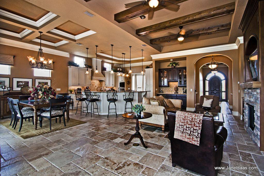 Country Great Room with Exposed beam, flush light, Fireplace, Paint, Ceiling fan, Crown molding, travertine floors, Paint 1