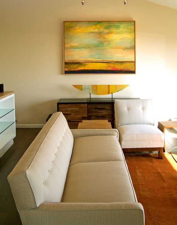 Modern Living Room with High ceiling, bedroom reading light, Hardwood floors