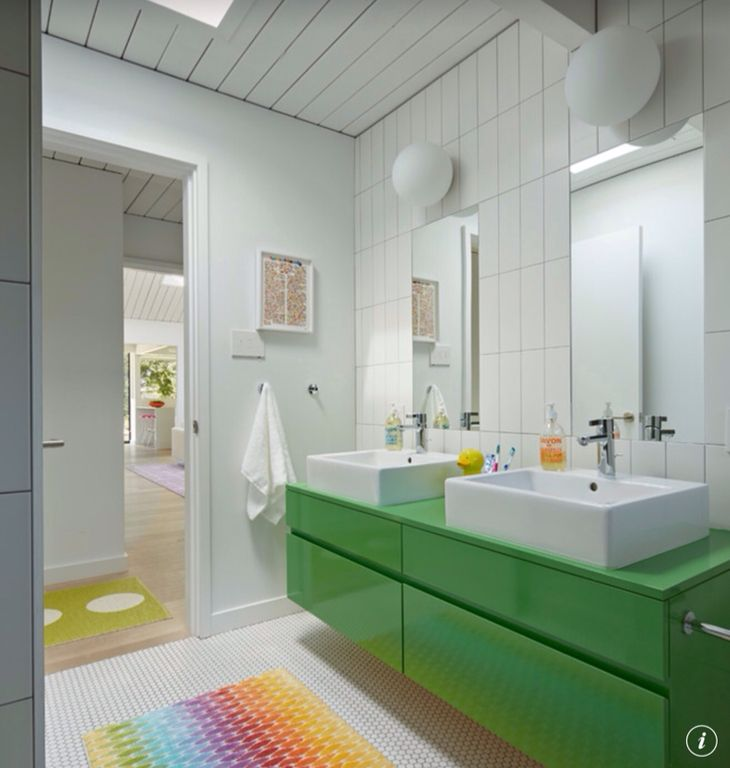 Contemporary Full Bathroom with Skylight, 30 in. x 24 in. Beveled Wall Mirror, Vessel sink, Wall sconce, Kids bathroom