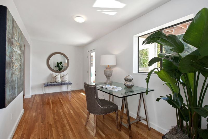 Contemporary Entryway with specialty window, French doors, flush light, Standard height, Hardwood floors