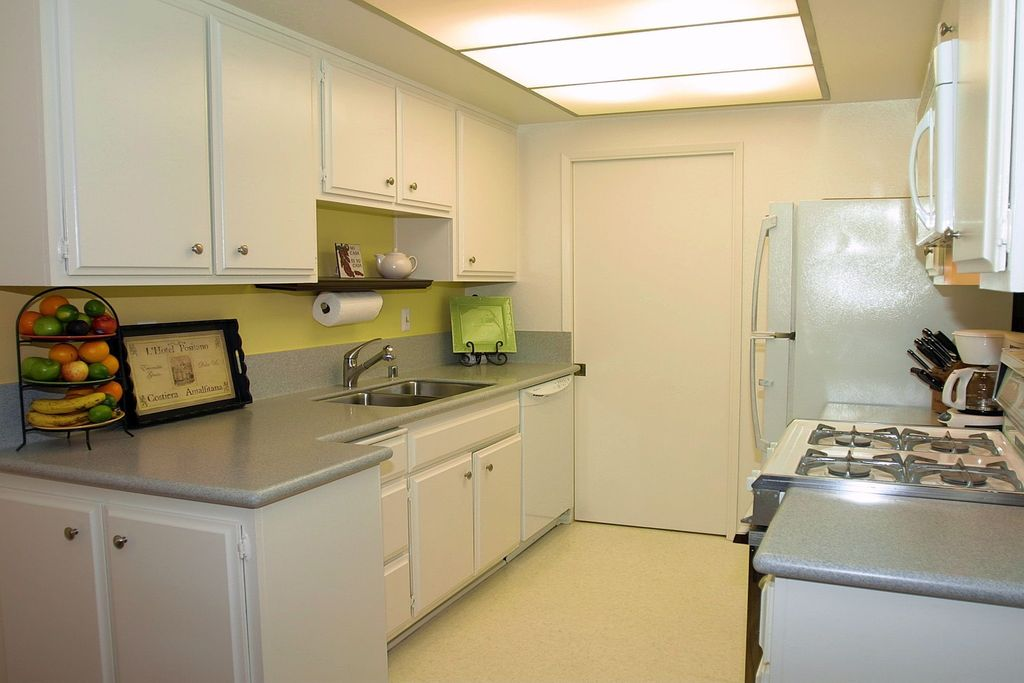 Modern Kitchen with Vinyl floors, gas range, Flush, Undermount sink, Standard height, Skylight, Raised panel, flat door