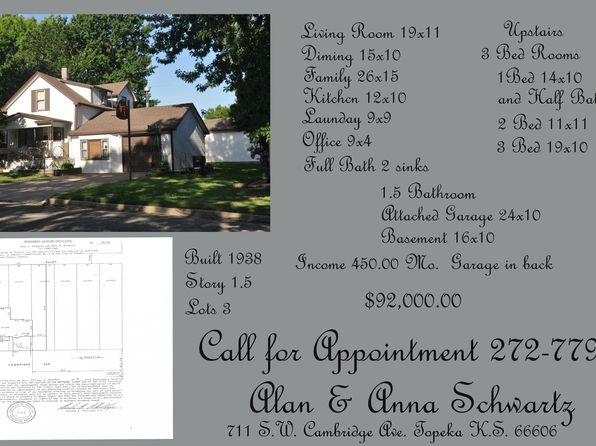 3 bed 2 bath Single Family at 711 SW Cambridge Ave Topeka, KS, 66606 is for sale at 92k - 1 of 11