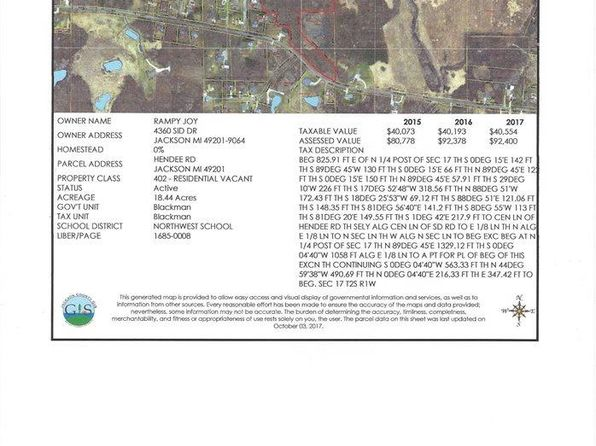 null bed null bath Vacant Land at VL Hendee Rd Jackson, MI, 49201 is for sale at 61k - google static map