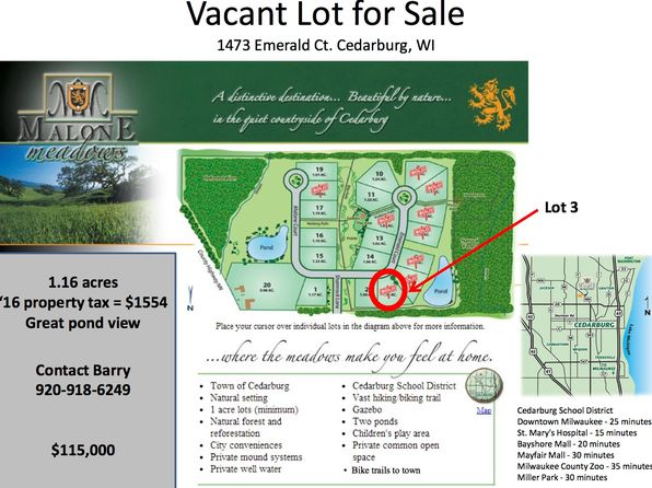 null bed null bath Vacant Land at  EMERALD CT CEDARBURG, WI, 53012 is for sale at 115k - google static map