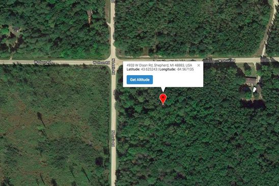 null bed null bath Vacant Land at 4934 W OLSON RD SHEPHERD, MI, 48883 is for sale at 25k - google static map