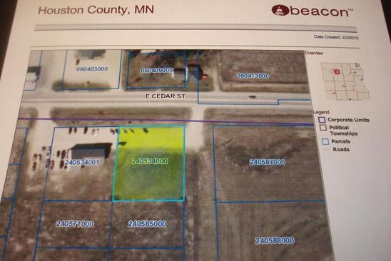 null bed null bath Vacant Land at 9TBD E Cedar St Houston, MN, 55943 is for sale at 54k - google static map