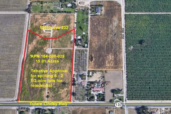 null bed null bath Vacant Land at 0 Avenue 232 Tulare, CA, null is for sale at 700k - google static map
