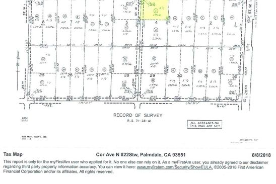 null bed null bath Vacant Land at W Cor Ave Palmdale, CA, 93551 is for sale at 155k - google static map